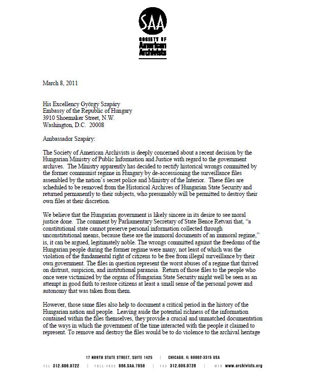 Society of American Archivists sends advocacy letter to Ambassador